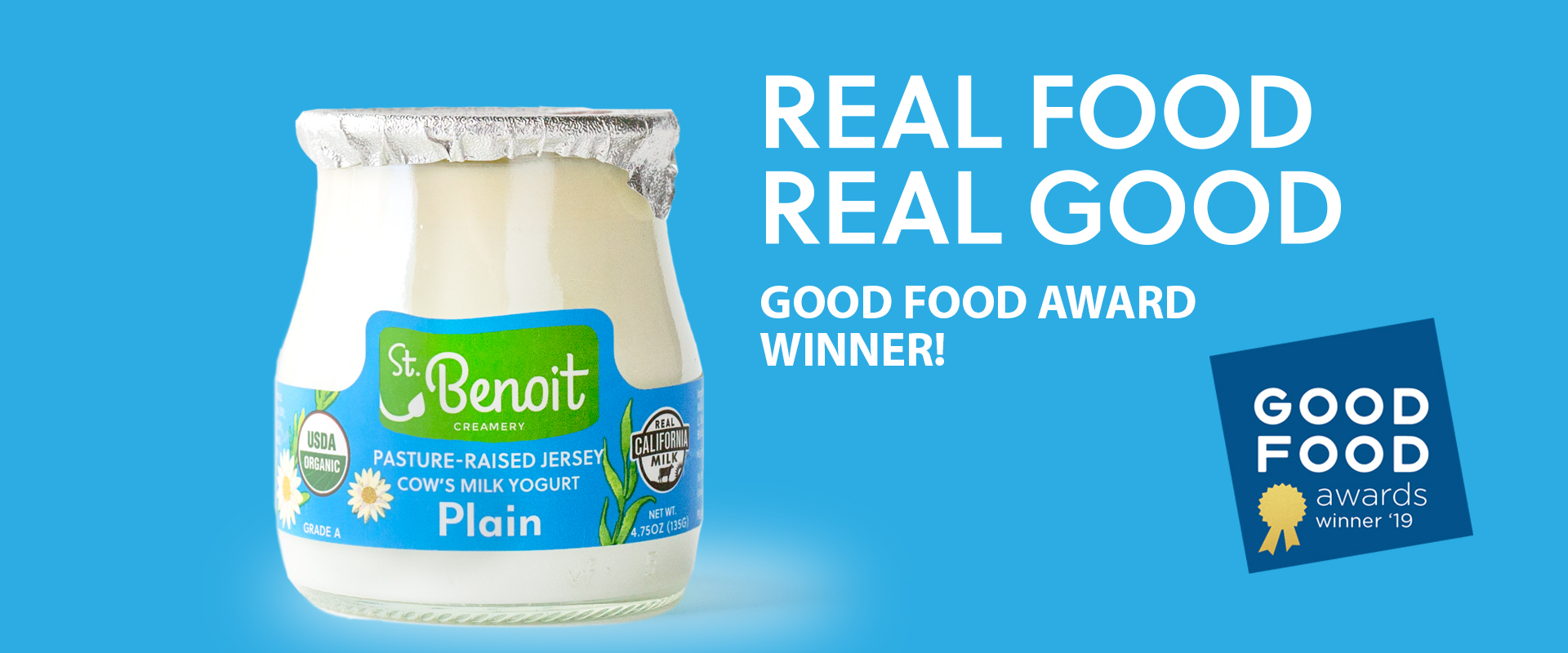 Image of St. Benoit Yogurt with an award winner logo