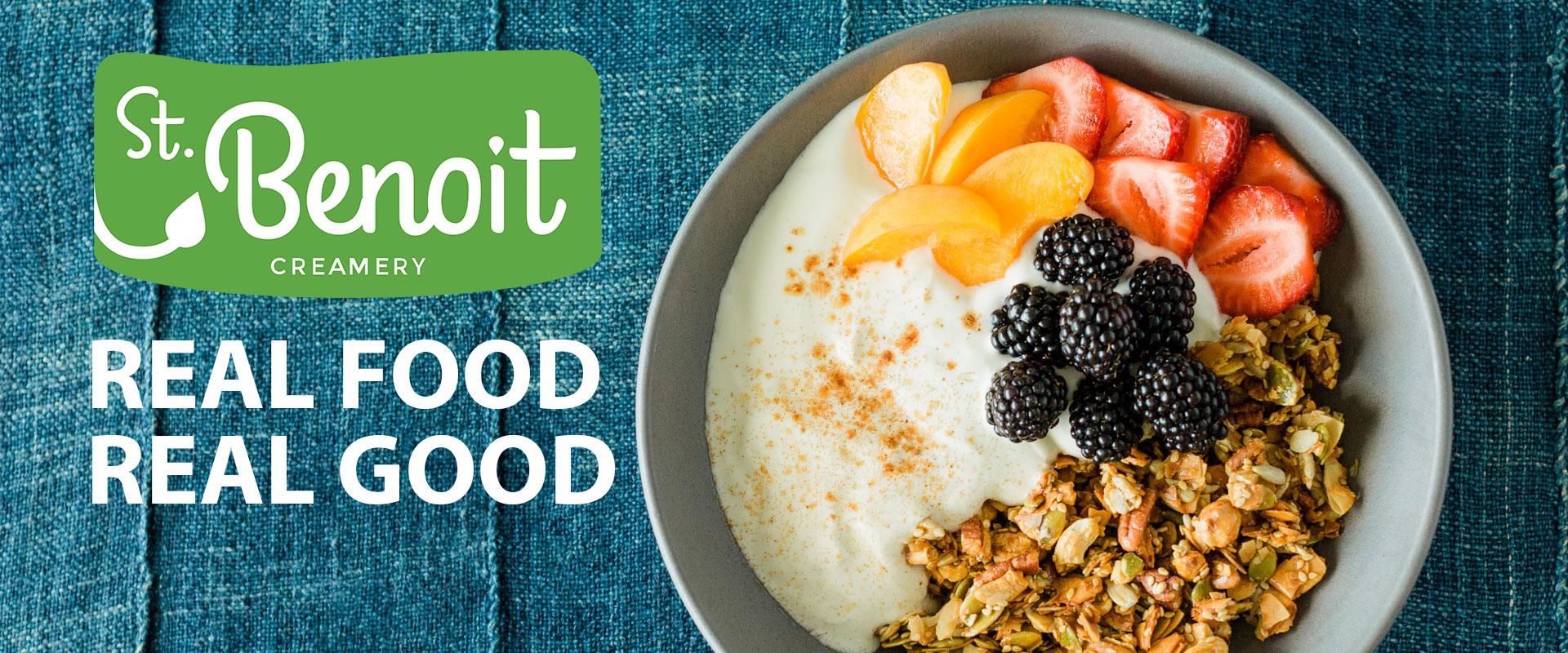 Imabe of St Benoit yogurt in a bowl with fruit and granola