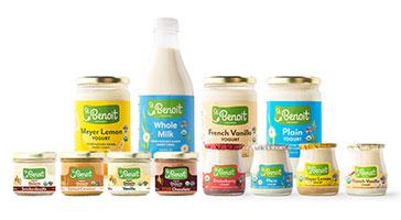 Jars of St. Benoit yogurt and milk